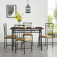 5 Piece Dining Table and Chairs Set Round Glass Top Kitchen Sun Room Porch Sets