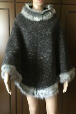 Poncho wool edged in faux fur Woman, gray, size L, lined  Mantella di lana Donna