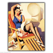 Metal sign wall plaque pin-up bleu marine fille elvgren pin up rétro poster art photo