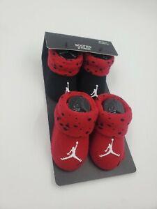 2 Pair Nike Air Jordan Baby Boys Booties, 0-6 Months, Shower Gift Red Black, B3