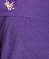 Ladies Embroidered Button Front Dressing Gown. Navy or Purple. Sizes S M L XL