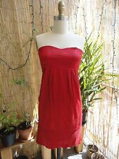 *INDAH* XS Red Silk Charmeuse Quilted Stitch Strapless Short Dress