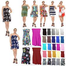 Women Sheering Boob Tube Gather Bandeau Top Summer Mini Dress Plus Size 8-24