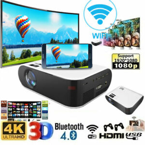 1080P 4K HD Wifi LCD Projector Bluetooth Mini Android Home Movie Theater HDMI AV