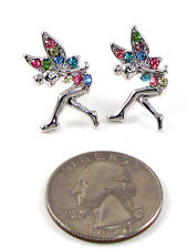 Silver Rhodium Plated Tinkerbell Fairy Stud Earrings W Multi-Colored Rhinestones