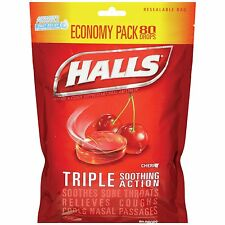 Halls Triple Action Cherry Drops, 80 ct
