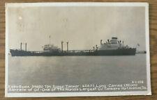 Vintage Rppc Postcard Esso Suez Super Oil Tanker Port Aransas Texas Tx 1955
