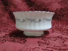 "Paragon Morning Rose, White w/ Blue Rose: Open Sugar Bowl, 4"" x 2 1/8"" Tall"