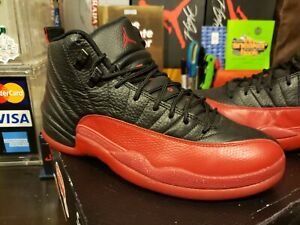AUTHENTIC Men's Size 9 US Nike Air Jordan 12 Retro Flu Game Black Red 130690-002