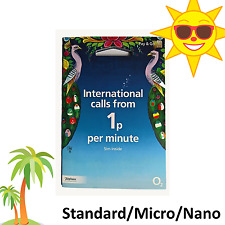 UK International SIM Card - 1p Per Min – Cheap Calls & Texts - Triple Cut O2 02