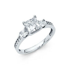 14K White Gold Engagement Ring Square Princess Cut 3 Stone Diamond Engagement
