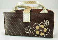 JACKI DESIGN Daisy/Polka Dot BROWN & BEIGE 2 in 1 Cosmetic Organizer Bag - NEW!