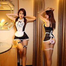 Women Cosplay Babydoll Nightwear Lingerie French Maid Dress G-string Costume HOT