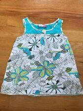 roxy kids girls shirt floral m sleeveless tank top green blue super cute