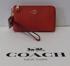 Coach Double Corner Zip Coral Genuine Leather Wallet Wristlet Clutch Purse NWT