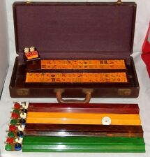 Vintage 1950's Mah Jongg Game 100 Chips 4 Bakelite Racks 150 Butterscotch Tiles