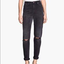 "H&M Brand Black 5 Pocket High Waist Ankle Length Mom Jeans Size 33"" BNWT #TR18"