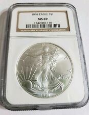 1998 1 Oz Silver $1 EAGLE NGC MS69 Coin, Brown Label.