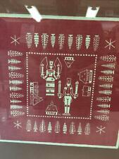 German Block Print Linen Square Christmas Angel Candles Prince Soldier