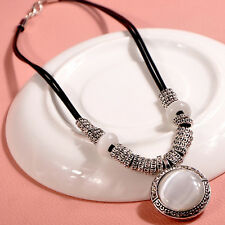 Silver Vintage Plated Round Opal Pendant Leather Cord Necklace Choker Jewelry*