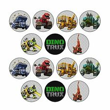 14x EDIBLE Dinotrux Cupcake Toppers Wafer Paper 4cm (uncut)