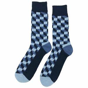 NWT Qbert Blue Dress Socks Novelty Men 8-12 Blue Fun Sockfly