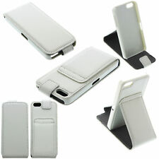 Vertical Flip Down PU Leather Stand Case Cover iPhone 5 /5G /5S /SE White Pink