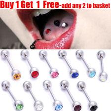 Surgical Steel Crystal Gem Ball Tongue Bar Tongue Barbell Stud Tongue Piercing