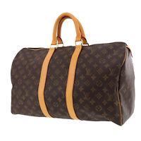LOUIS VUITTON Keepall 45 Boston Hand Bag Brown Monogram M41428 Auth #QQ141 O