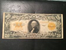 1922 $20 GOLD CERTIFICATE VERY FINE. PLEASING ORIGINAL PROBLEM FREE