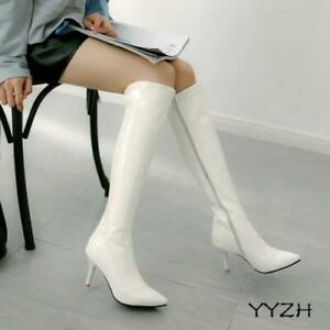 Womens Patent Leather Knee High Boot Pointy Toe Fashion Stiletto High Heel Shoes