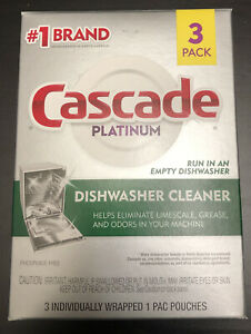 BRAND NEW Cascade PLATINUM DISHWASHER CLEANER 3 PACK of Individual Pouches