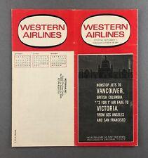 WESTERN AIRLINES TIMETABLE SEPTEMBER - OCTOBER 1967 FLIGHT SCHEDULE