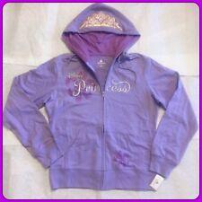 NEW DISNEY PARKS Princess Crown Hoodie Women's Purple Zip Up Size Small $59