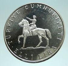 1972 TURKEY President Kemal Ataturk  Genuine Silver Islamic 50 Lira Coin i76043