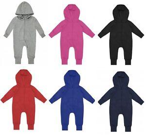 TODDLER BOY/GIRL Baby Plain Zip Up Long Sleeve Hooded FLEECE Play Suit 1Onesie