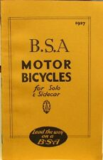 1927 B S A  Motor Bycycle - For Solo & Sidecar Sales Book All Models/ Sidecars