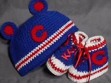 Custom Handmade Crochet Chicago Cubs Baseball High Top Booties & Baby Hat
