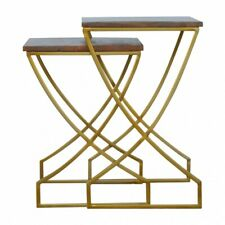 Art Deco Mid Century Nesting Side Tables With Gold Legs & Dark Wood Tops