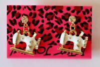 Betsey Johnson Crystal Rhinestone Enamel Sewing Machine Post Earrings