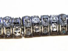 50 Glas Strass Rondell Spacer Metallperlen 6 mm ALTSILBER KLAR CRYSTAL BEST R41