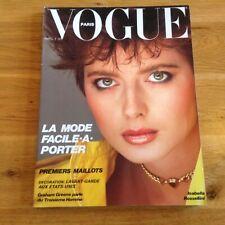Paris French vogue  Isabella Rossellini April 1982 number 625