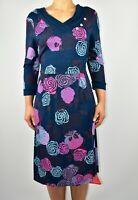 New Joe Browns Dress Floral Blue Navy Autumn Summer Stretch Size 12 AL