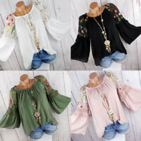 Fashion New Summer Womens Off Shoulder  Floral Tops T Shirt Blouse Casual Loose