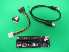 PCI-E Express USB 3.0 1x to 16x Extender Riser Card Adapter SATA Power Cable