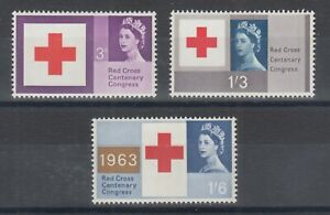 Great Britain Sc 398p-400p MLH. 1963 Red Cross w/ Phosphor Tagging cplt