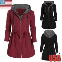 Women Long Sleeve Hooded Coat Zip Up Jacket Trench Parka Outwear Overcoat Top US