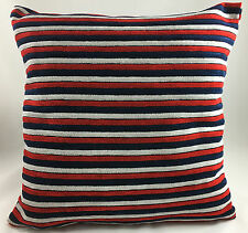 Red+Navy Blue and Light Grey Stripes Same Velour Fabric Both Sides Cushion Cover