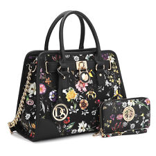 New Women Padlock Leather Work Satchel Handbag Tote Shoulder Bag Purse w/ Wallet