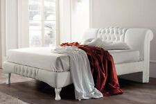 White Designer Bed Frame Modern Contemporary Faux Leather Double King Size